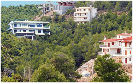 houses on a mountain